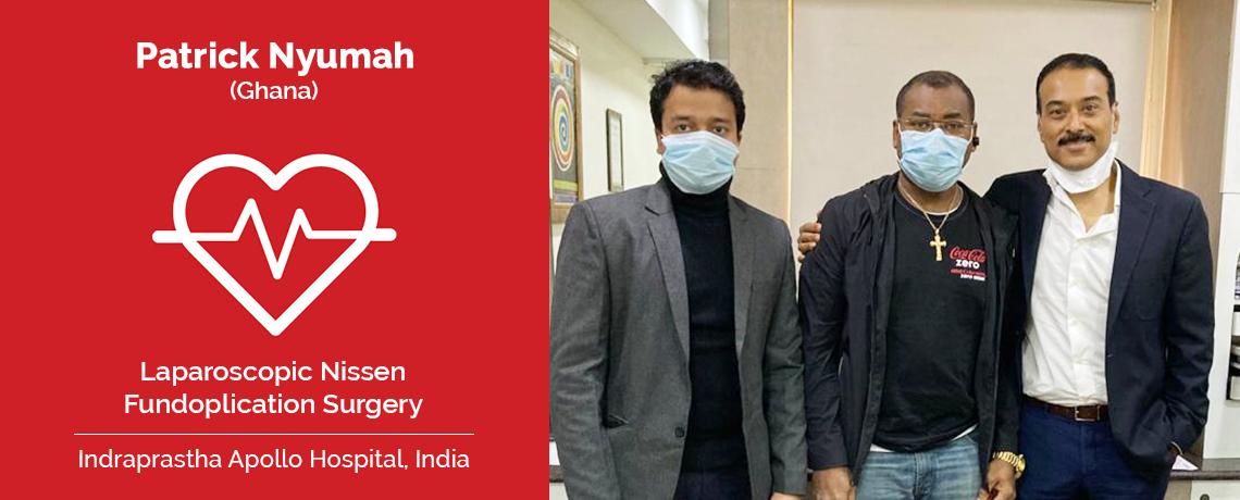 Пациенту из Ганы была сделана лапароскопическая операция по фундопликации по Ниссену в Индии